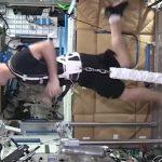 Ćwiczenia na pokładzie ISS / Credits - ESA