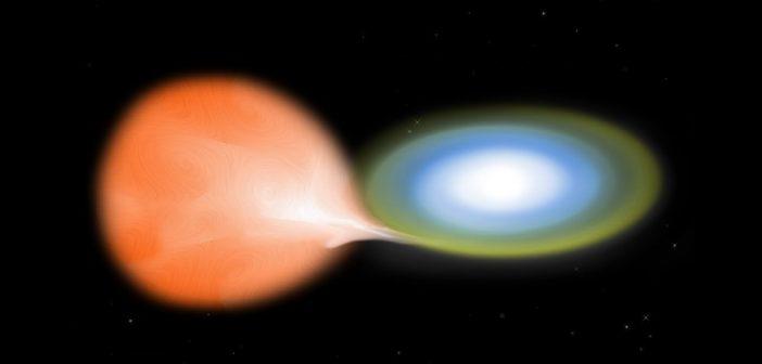"""Wizja artystyczna układu białego karła """"pożerającego"""" materię z drugiej gwiazdy w układzie / Credits - NASA/CXC/M.Weis"""