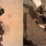 Dwa spojrzenia na stanowisko Kreta - po lewej zdjęcie z 15 lutego 2020, po prawej zdjęcie z 23 lutego 2020. Widoczny ruch manipulatora misji InSight / Credits - NASA