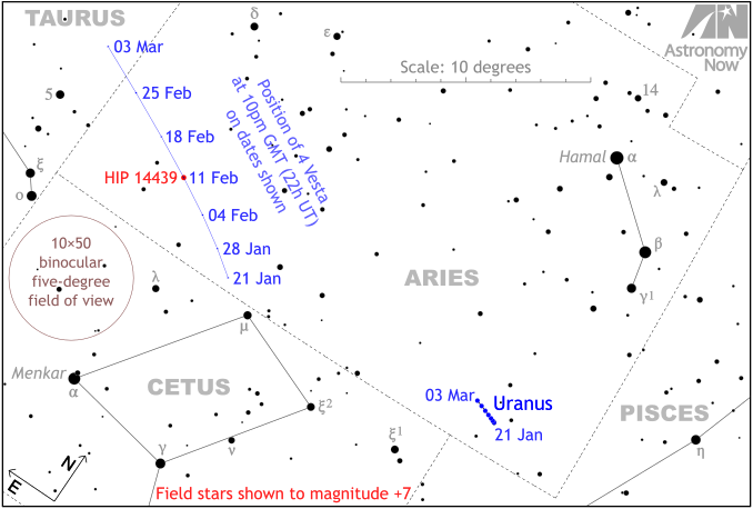 Położenie gwiazdy HIP 14439 w gwiazdozbiorze Barana, trasa planetoidy Westa oraz pole widzenia lornetki 10x50 / Credits - Astronomy Now, Ade Ashford