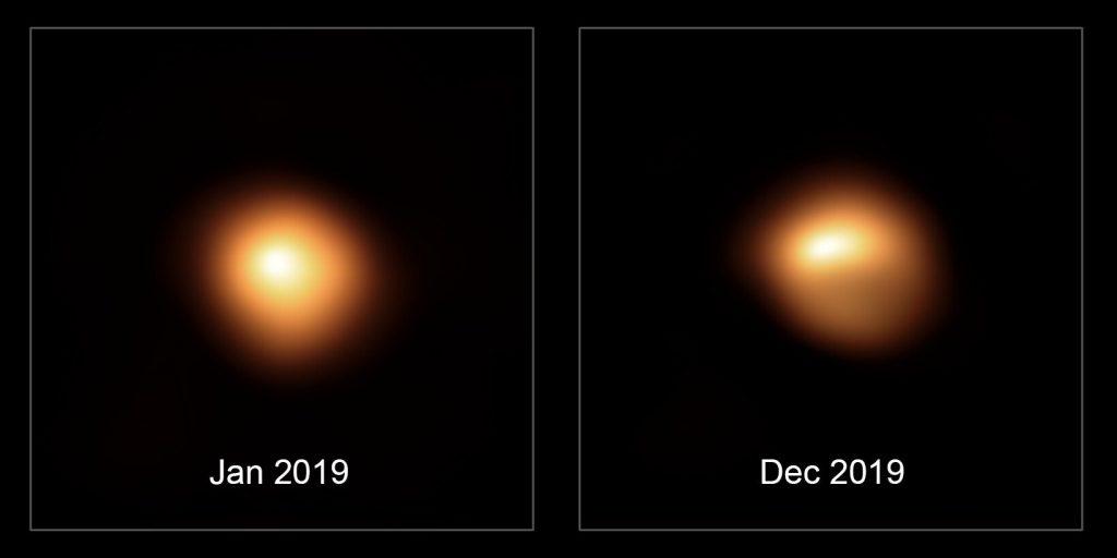SPHERE obserwuje Betelgezę - styczeń 2019 (normalna jasność) i grudzień 2019 (spadek jasności) - zauważalny jest ciemny obszar na części tej gwiazdy / Credits - ESO/M. Montargès et al.