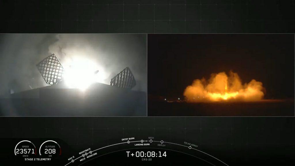 Lądowanie pierwszego stopnia rakiety Falcon 9 - misja CRS-20 / Credits - SpaceX