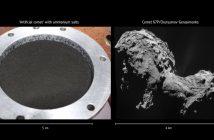 """""""Sztuczna kometa"""" z solami amonowymi (wymieszana z lodem oraz różnych związków organicznych) oraz kometa 67P / Credits - O. Poch, IPAG, UGA/CNES/CNRS, ESA/Rosetta/NavCam"""