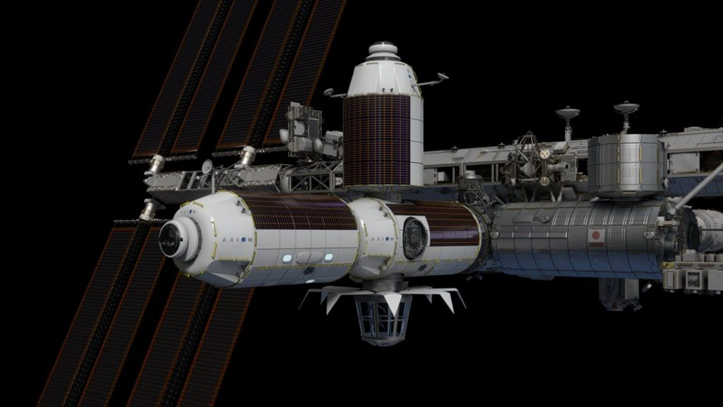 Moduły Axiom Space przed odłączeniem od Międzynarodowej Stacji Kosmicznej (ISS), co ma nastąpić w 2028 r. (źródło: https://www.axiomspace.com/)
