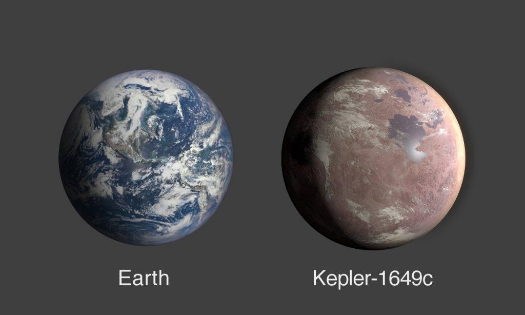 Porównanie wielkości Ziemi i Keplera-1649c. Wygląd Keplera-1649c jest artystyczną wizją. / Credits - NASA/Ames Research Center/Daniel Rutter