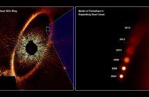 Fomalhaut (zdjęcie z HST po lewej). Po prawej symulacja rozptrzestrzeniania się chmury materii powstałej wskutek kolizji / Credits - NASA, ESA, A. Gáspár i G. Rieke (University of Arizona)