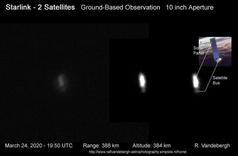 Teleskopowa obserwacja jednego z satelitów Starlink. Najjaśniejszy element satelity to panel słoneczny / Credits - R. Vandebergh