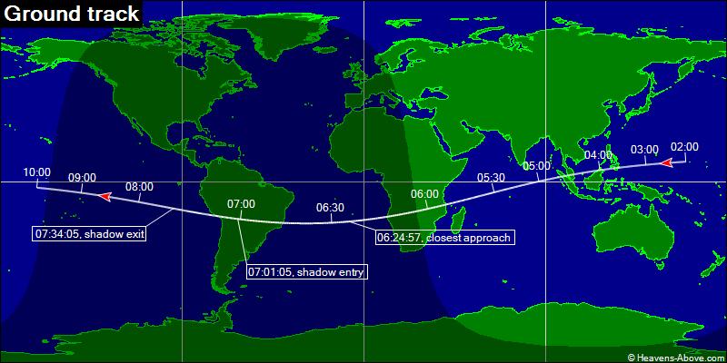 Trasa przelotu sondy BepiColombo na tle Ziemi w dniu 10 kwietnia 2020 (czas CEST) / Credits - Heavens Above