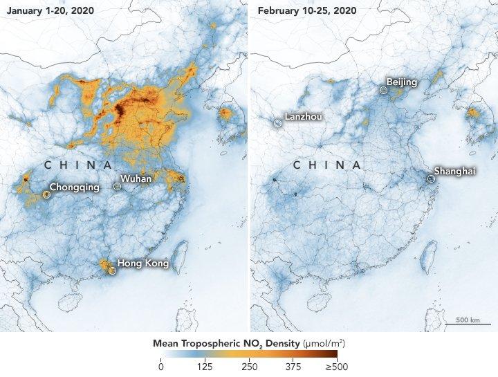 Porównanie stężenia troposferycznego dwutlenku azotu ze stycznia i lutego 2020 w Chinach. Wyraźny spadek stężenia ma związek z zatrzymaniem produkcji przemysłowej / Credits - NASA, ESA