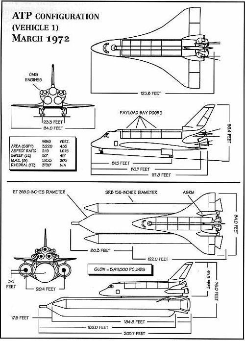 Koncepcja wahadłowca z początku 1972r. (NASA)