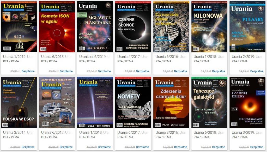 Kilka numerów Uranii z ostatnich lat / Credits - PTA, PTMA