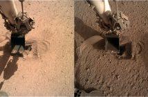Łyżka - manipulator misji InSight oraz (niewidoczny już) Kret - zdjęcia z 7 i 8 maja 2020 / Credits - NASA/JPL-Caltech