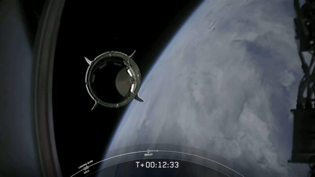 Separacja Dragona 2 od górnego stopnia Falcona 9 - misja SpX-DM2 / Credits -NASA TV, SpaceX