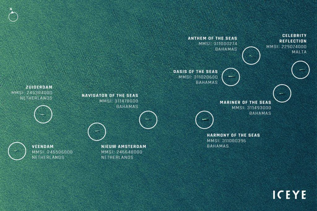 (Przetworzony) radarowy obraz dużych wycieczkowców w pobliżu Bahamów / Credits - ICEYE