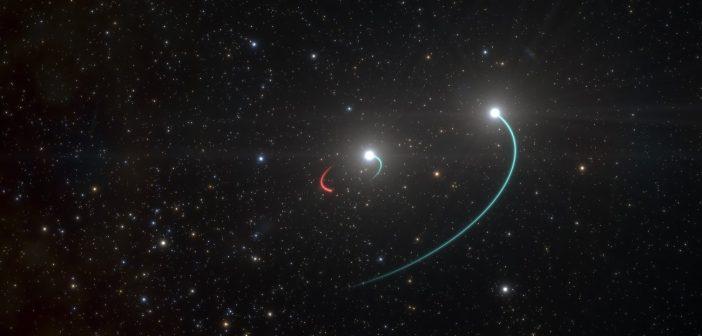 Wizja układu HR 6819 - niebieskim kolorem zaznaczono ruch gwiazd zaś czerwonym - ruch niewidocznego obiektu w tym układzie (czarnej dziury) / Credits - ESO/L. Calçada