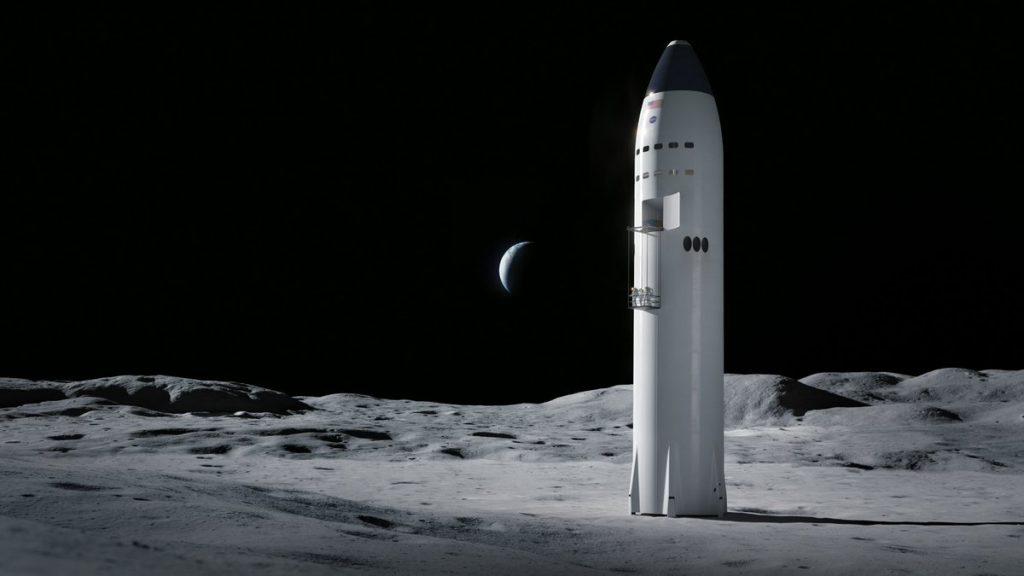 Statek Starship firmy SpaceX w wersji księżycowej – grafika/ Credits - SpaceX