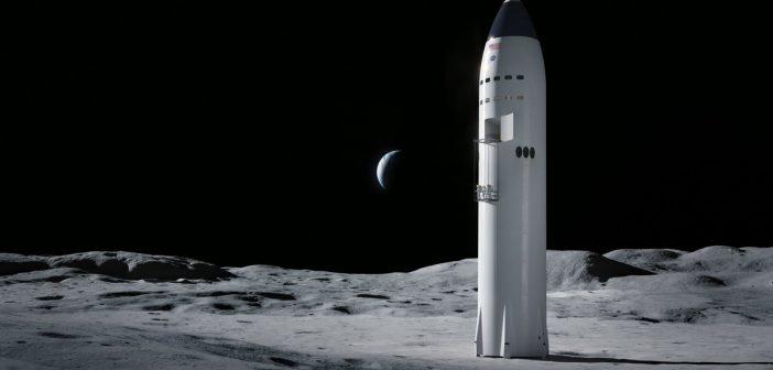 Statek Starship firmy SpaceX w wersji księżycowej – grafika/ Credits – SpaceX