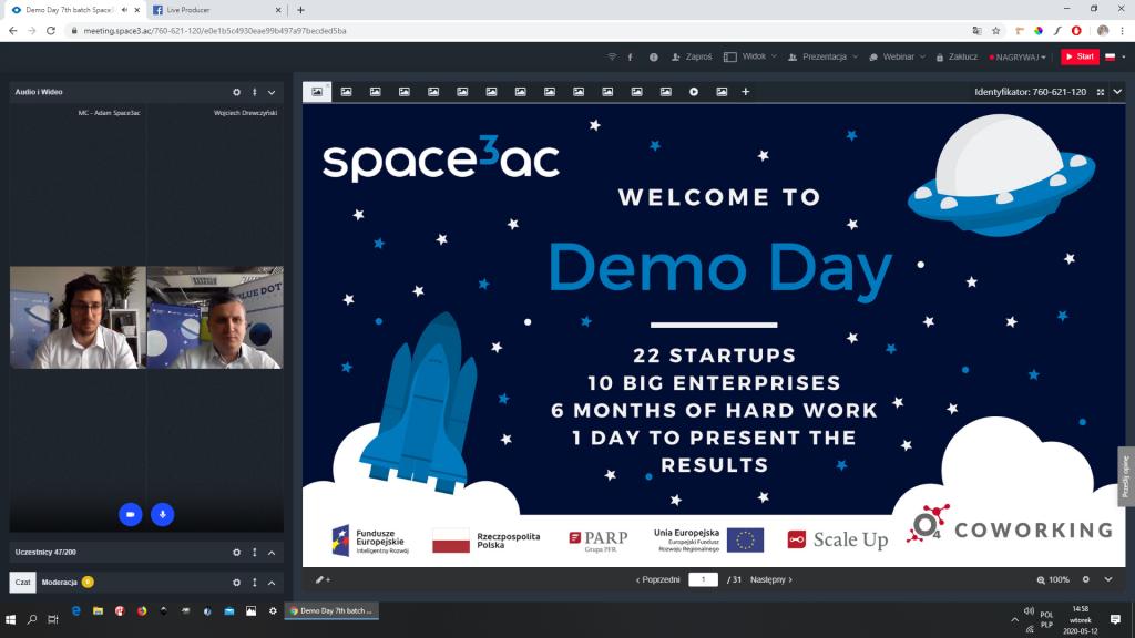 Wirtualne Demo Day programu Space3ac - widok ekranu / Credits - Space3ac