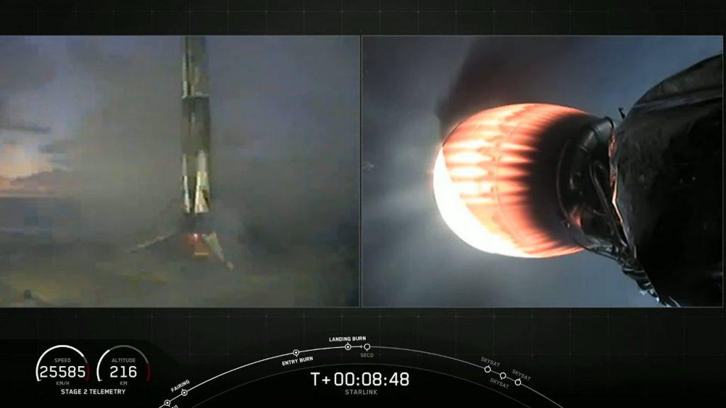 Ujęcie tuż po lądowaniu pierwszego stopnia Falcona 9 - 13.06.2020 / Credits - SpaceX