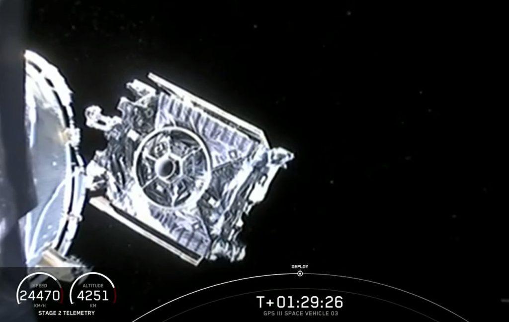 Moment uwolnienia satelity GPS F-03 / Credits- SpaceX
