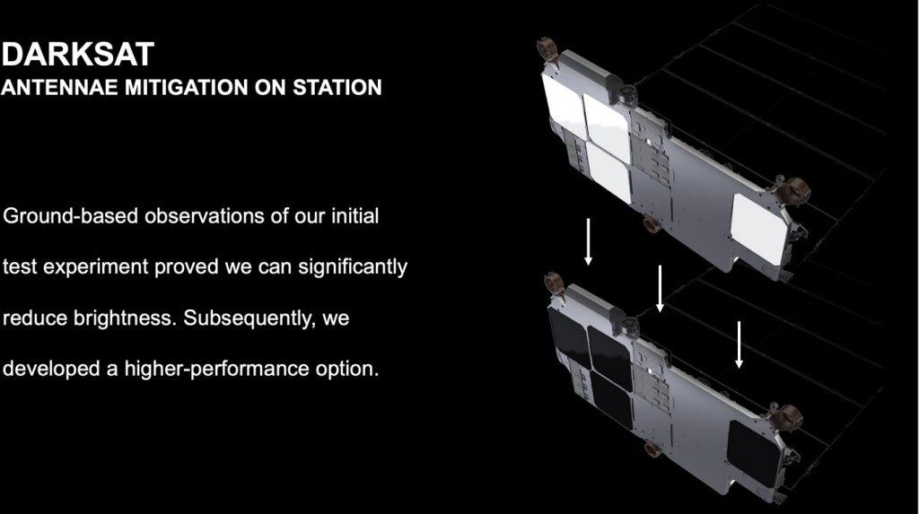 Przykład wprowadzonej modyfikacji – zaciemnienie anten zainstalowanych na satelitach Starlink / Credits – SpaceX