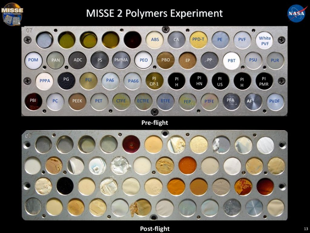 Eksperyment MISSE-2 - różne materiały (w większości polimerowe) przed instalacją na zewnątrz ISS i po powrocie na Ziemię. Czas wystawienia na warunki LEO - prawie 4 lata / Credits - NASA