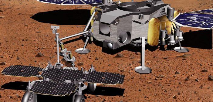 Koncepcja łazka MSFR w pobliżu pojazdu, który wyniesie próbki materii na orbitę marsjańską / Credits- NASA, JPL, Caltech