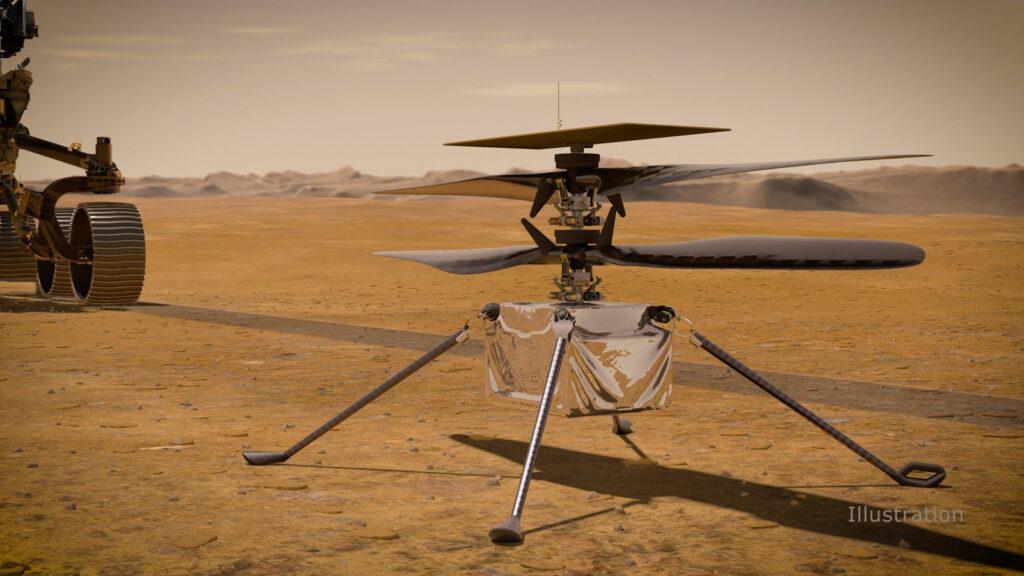 Dron helikopterowy Ingenuity na powierzchni Marsa