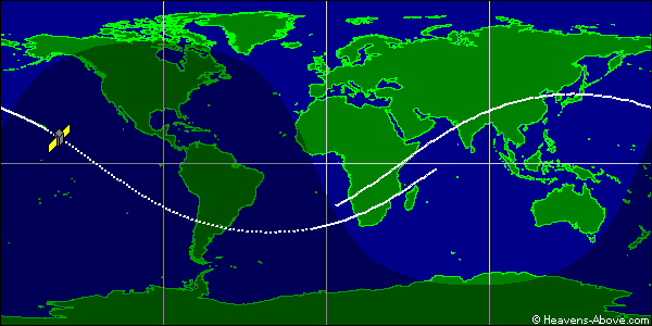 Orbita satelity Ofeq-11 / Credits - Heavens-Above