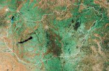 Mozaika radarowych zdjęć satelitarnych Węgier, wykonanych przez satelitę Sentinel-1A pomiędzy październikiem a grudniem 2014 / Credits - Copernicus data/ESA