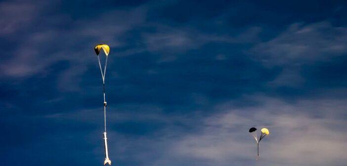 Lądująca rakieta po starcie na Festiwalu Meteor 2020 / Credits - PTR