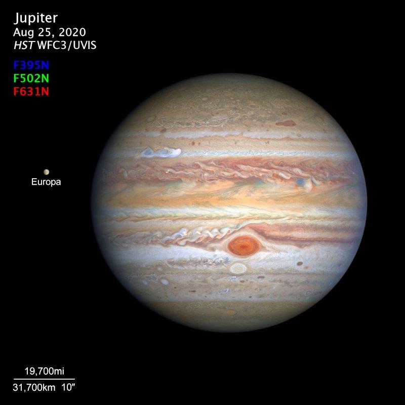 Jowisz i Europa - sierpień 2020 / Credits - NASA, ESA, STScl, A. Simon, OPAL, M.H. Wong