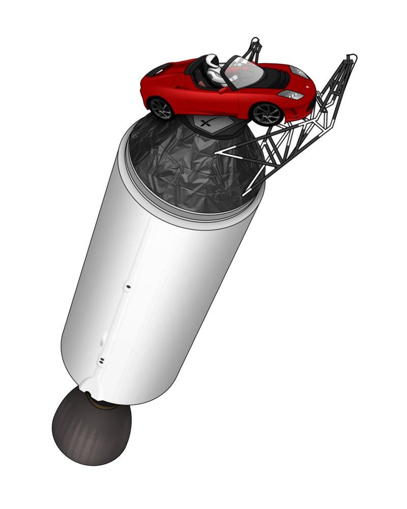 Wygląd zestawu Tesla Roadster, Starman oraz górny stopień Falcona Heavy / Credits - Joe Haythornthwaite (nagualdesign)