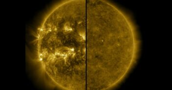 Widok Słońca (na zakresie fal UV) podczas maksimum (lewa strona) i minimum (prawa strona) cyklu słonecznego / Credits - NASA, SDO