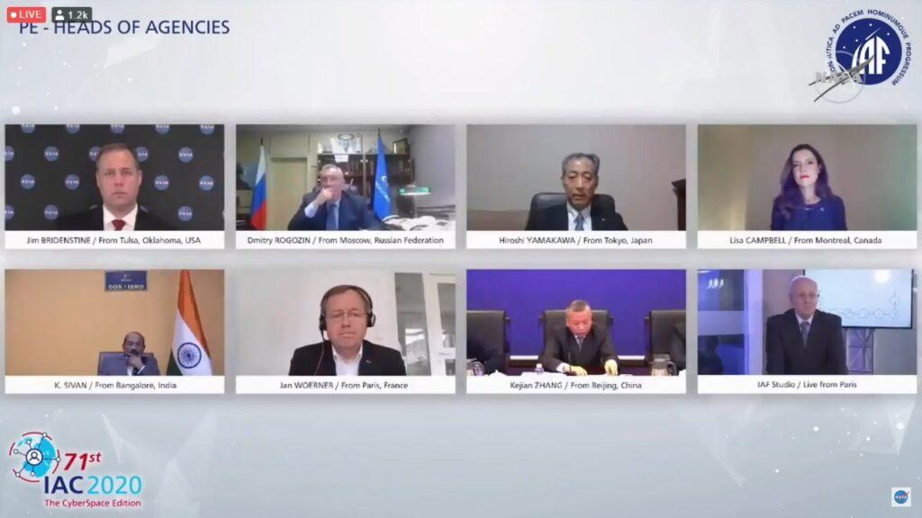 Panel przedstawicieli agencji kosmicznych - pierwszy dzień IAC 2020 / Credits - IAF, NASA TV