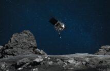 Grafika prezentująca sondę OSIRIS-REx nad powierzchnią planetoidy Bennu / Credits - NASA/Goddard/University of Arizona