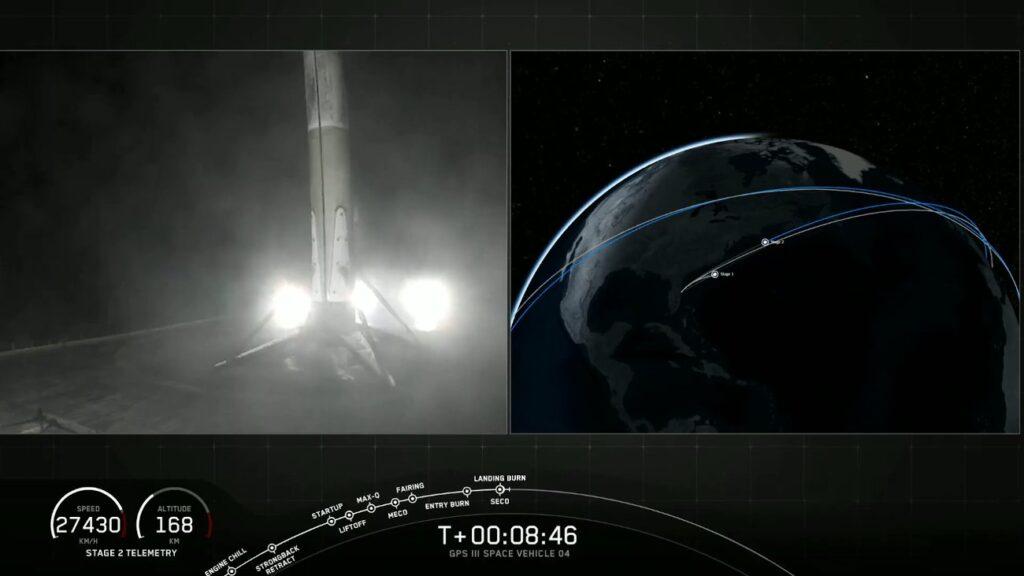 Tuż po lądowaniu pierwszego stopnia rakiety Falcon 9 - 06.11.2020 / Credits - SpaceX