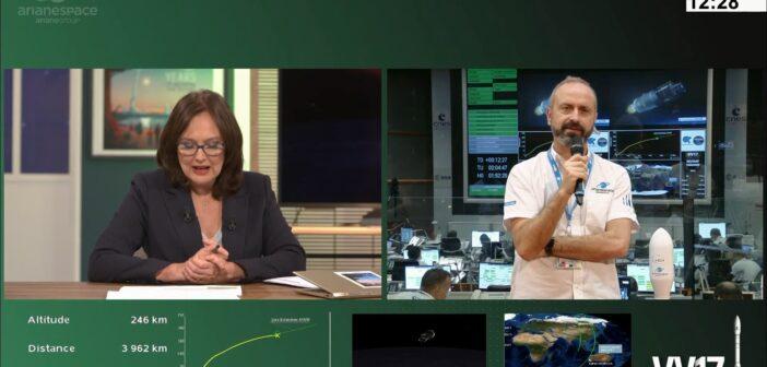 Ekran z loty rakiety Vega VV17 - zauważalna jest nieprawidłowa trajektoria lotu (w dolnej lewej części ekranu) / Credits - Arianespace