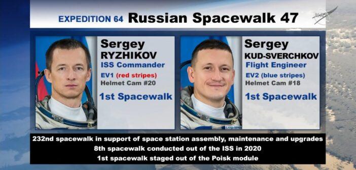 Rosyjski spacer kosmiczny VKD-47 / Credits - NASA TV
