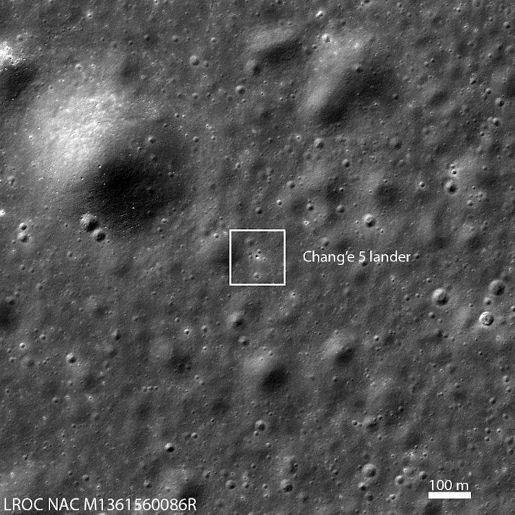 Chang'e 5 na powierzchni Księżyca - zdjęcie z 2 grudnia 2020 z LRO / Credits - NASA/GSFC/Arizona State University