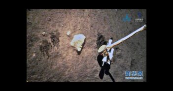 Zdjęcie z powierzchni Księżyca - miejsce pobrania próbek z miejsca lądowania Chang'e 5 / Credits - news.cn