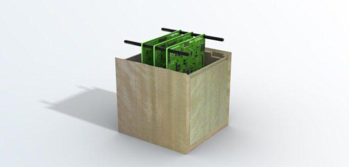 """Grafika prezentująca """"drewnianego"""" satelitę / Credits - Badań Naukowych o Przestrzeni Kosmicznej Uniwersytetu Kioto"""