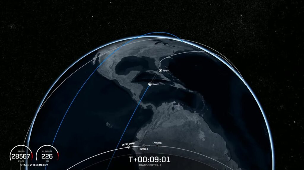 Trajektoria lotu rakiety Falcon 9 podczas misji Transponder-1 / Credits - SpaceX