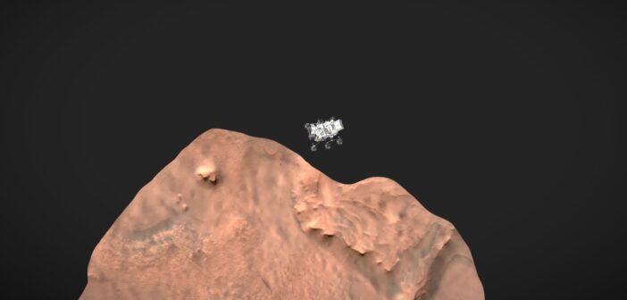 Model łazika Perseverance na tle wycinka krateru Jezero - nad podstawie danych z lądowania łazika / Credits - Spaceport3d
