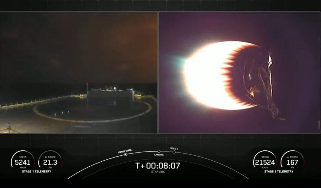 Pożegnanie stopnia B1059 - pojaśnienie na niebie w pobliżu platformy morskiej - 16.02.2021 / Credits - SpaceX
