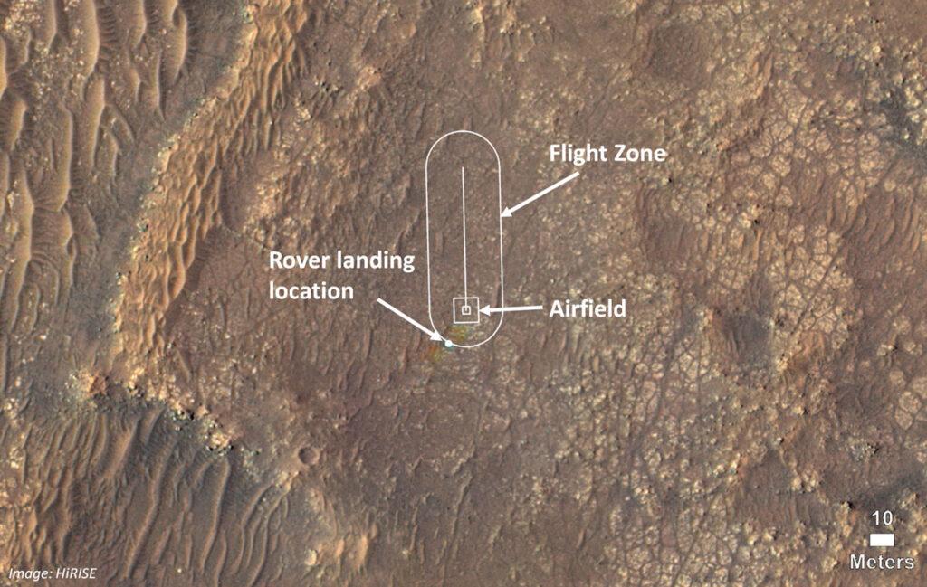 Strefa testowych lotów Ingenuity / Credits - NASA/JPL-Caltech/University of Arizona