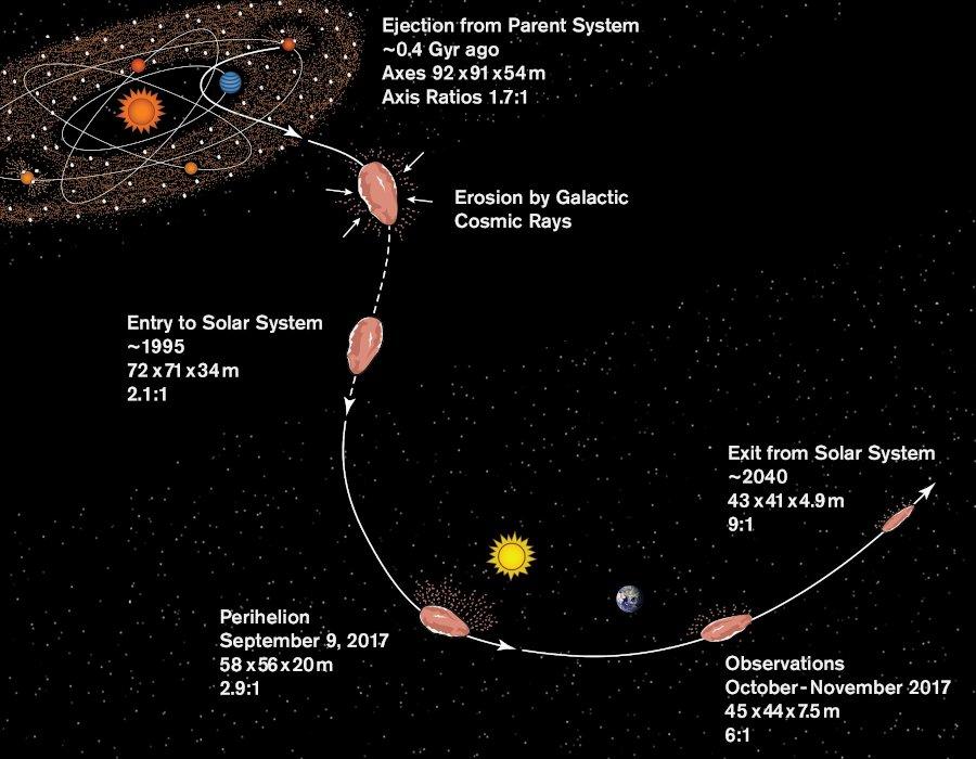 Zmiana kształtu 1I/2017 U1 podczas przelotu w Układzie Słonecznym / Credits - S. Selkirk/ASU