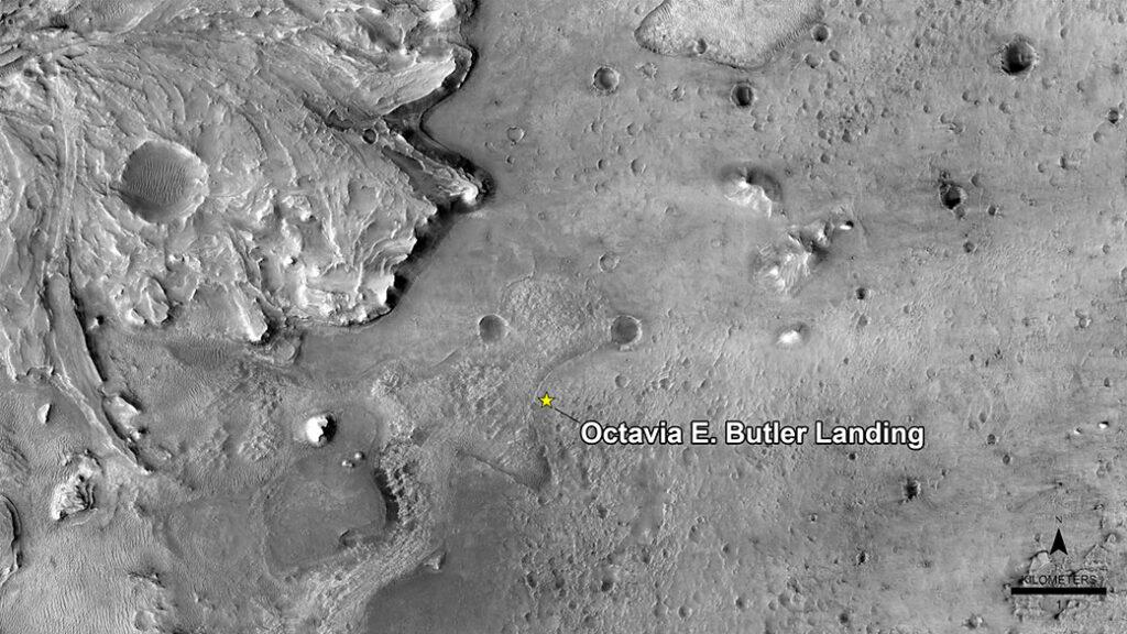 Miejsce lądowania misji Mars 2020 - lądowisko Octavia E. Butler / Credits - NASA/JPL-Caltech/University of Arizona