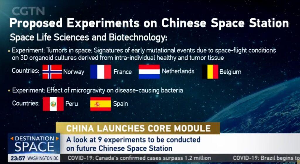 Proponowane eksperymenty do realizacji na chińskiej załogowej stacji kosmicznej / Credits - CGTN