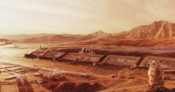 Grafika przedstawiająca kolonię Twardowsky na Marsie (autor: Wojciech Fikus ze Space is More)